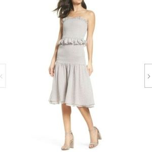 Cooper St Grey Violet Strapless Midi Smocked Dress